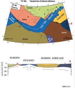 1. Ricostruzione geografica della zona fra Europa ed Africa circa 130 milioni di anni fa. Un braccio di mare con fondo oceanico si insinua fra le due placche continentali. Da Bousquet et al., 2012
