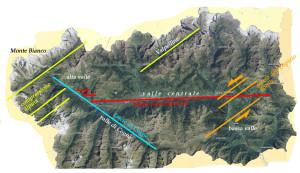 Fig. 02 - Alcune strutture su cui si imposta il rilievo valdostano. In verdino le strutture profonde della compressione alpina, in altri colori i vari sistemi di strutture superficiali rigide (faglie).