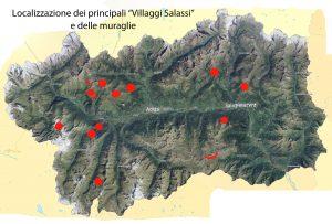1. La distribuzione dei villaggi e delle muraglie si addensa attorno alla conca di Aosta, con un polo secondario più ad est.