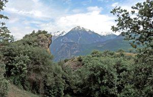 5.Vollein, vista da nord. A sinistra la parete ancora in posto, verso destra il dosso roccioso levigato dal ghiacciaio quaternario, sprofondato di qualche decina di metri.