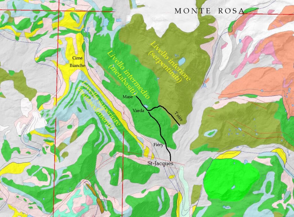 08. Carta geologica dell'alta Valle d'Ayas con il tracciato del nostro itinerario. Sono evidenziati il Monte Rosa, le Cime Bianche e i tre livelli in cui si suddivide l'antico fondo oceanico.