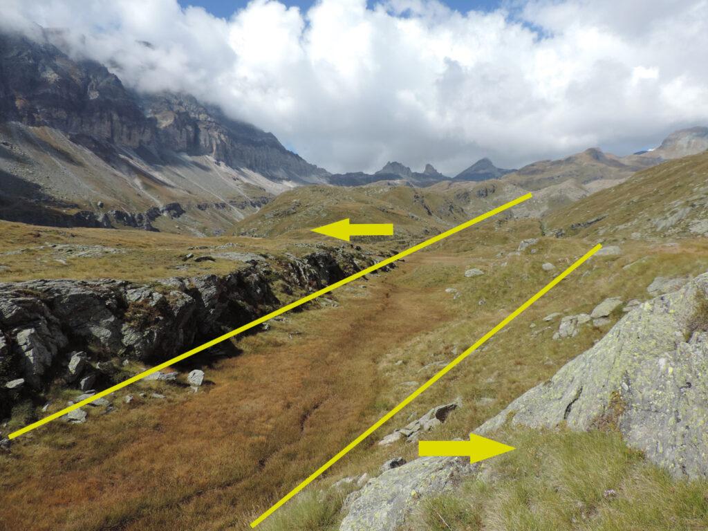 10. All'Alpe Varda una fresca frattura si apre nella montagna e corre lungo la Comba d'Aventine, seminando torbiere sul suo passaggio. La Terra è viva e mobile nel vallone delle Cime Bianche.