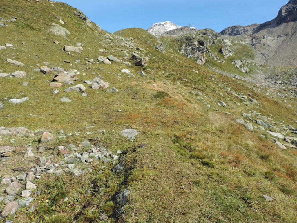 14. Alpe Indren. A destra in basso i resti della vasca. Dal centro a sinistra il canale di adduzione dell'acqua.