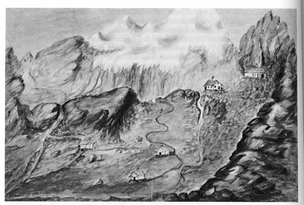 18. Schizzo ad acquerello e china conservato dagli eredi Vincent, nel quale è raffigurato il percorso dalla miniera (in alto a destra) al Baraccone (sulla riva del torrente) e all'Alpe Indren (in basso a sinistra) con il relativo canale.