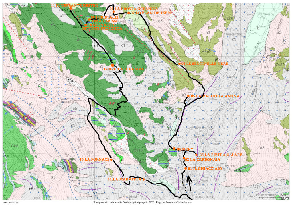 Il percorso tracciato sulla carta geologica. Si inizia sulla antica morena dal ghiacciaio di Verra (in basso a destra) per poi inoltrarsi nelle serpentiniti del vallone di Tsère (verde oliva) e quindi passare alle metabasiti da Varda al Courtod (verde bandiera).