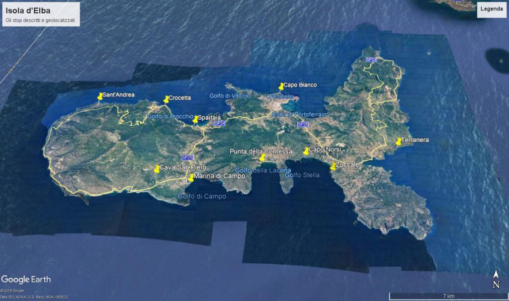 Sull'immagine Google Earth dell'Isola d'Elba vengono evidenziati i siti descritti nel testo o comunque presi in considerazione per ricostruire la storia geologica dell'isola.