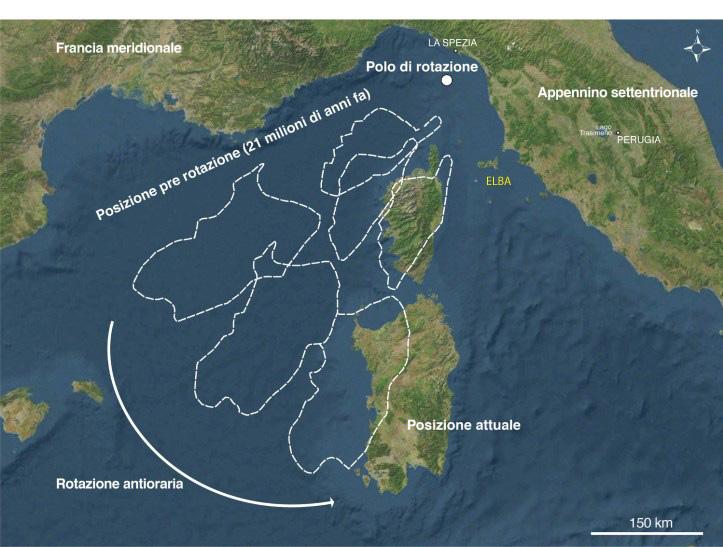 L'Isola d'Elba nel contesto attuale e qualche elemento della sua storia geologicamente recente. Mare e terraferma non sono sempre stati divisi nel modo attuale.