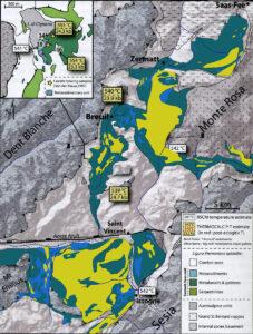 03 - L'area di affioramento dell'Unità oceanica eclogitica Zermatt-Saas, dal Vallese al Mont Avic. Da Angiboust et al. (2009).