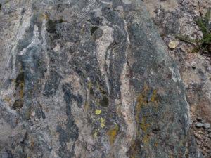 05 - Relitti eclogitici fra i minerali delle rocce affioranti all'alpe Chateau: anfibolo blu, epidoto, granato.