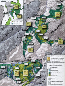 8.La grande écaille de manteau éclogitique affleure sans interruptions de Saas-Fee (Valais, Suisse) au nord à Champorcher (Parc du Mont Avic, Vallée d'Aoste) au sud. D'après ANGIBOUST et al., 2009.