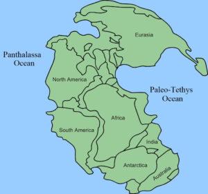 1-1. Ricostruzione paleogeografica dei continenti alla fine dell'era primaria. Da Wikimedia Commons.