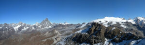 20-a - Du sommet de la Roisette, vue panoramique de la série de charriages entre Mont Rose et Cervin.