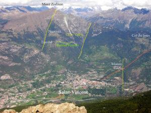 5-1. Panorama del versante sinistro a Saint-Vincent. In giallo e arancio le grandi faglie in intersezione.