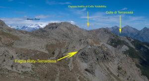 8.Dalla cima del Bec Barmasse appare il tracciato della faglia e il punto ideale di riferimento, l'Ospizio Sottile al Colle Valdobbia (Gressoney).