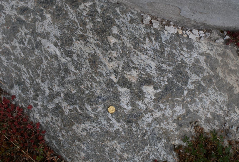 10. Il micascisto a granato e cloritoide del basamento cristallino che ospita le marmitte di Revers.