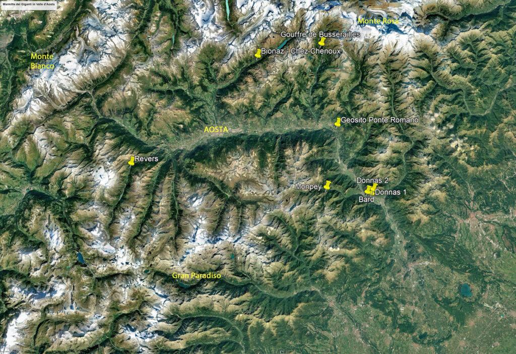 Localizzazione in Valle d'Aosta delle principali Marmitte dei Giganti.