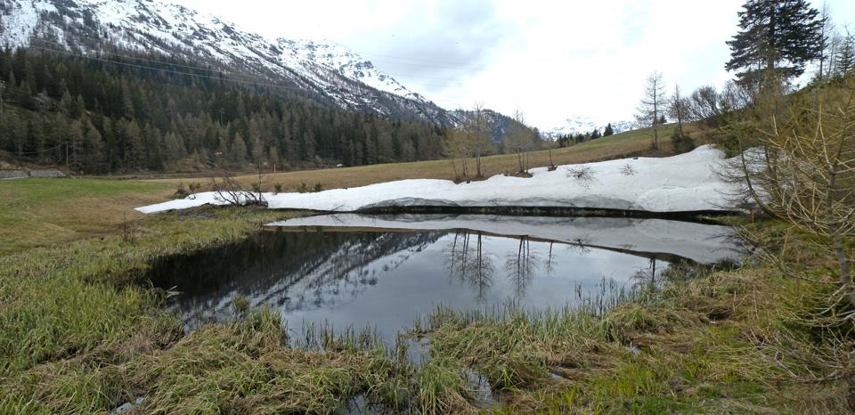 Veduta invernale del laghetto formato dal vecchio inghiottitoio. Un ruscello esce a sinistra in basso...