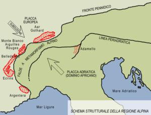 Schema tettonico dell'arco alpino occidentale, che evidenzia i rapporti fra Fronte Pennidico e massicci cristallini europei