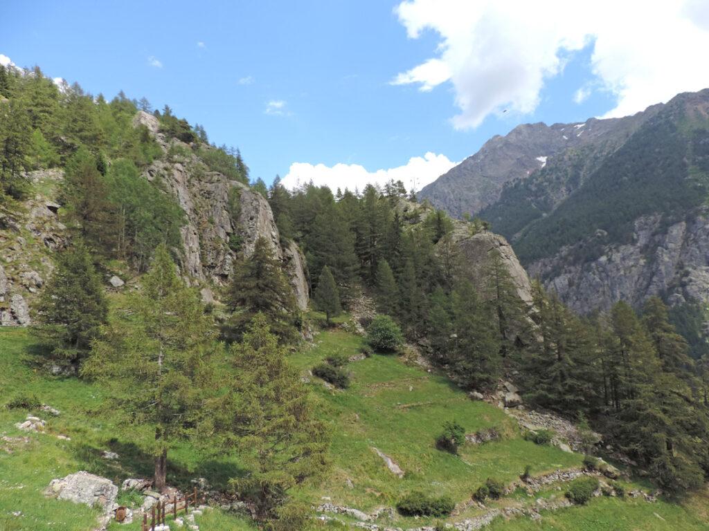 Le pareti di arrampicata sono costituite da superfici di frattura orientate anch'esse NE-SW come tutta la valle.