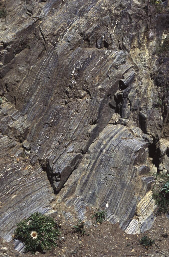 Le anfiboliti listate della Valpelline sono costituite da orneblenda (nera) e plagioclasio (bianco) in livelli piani paralleli orientati NE-SW.