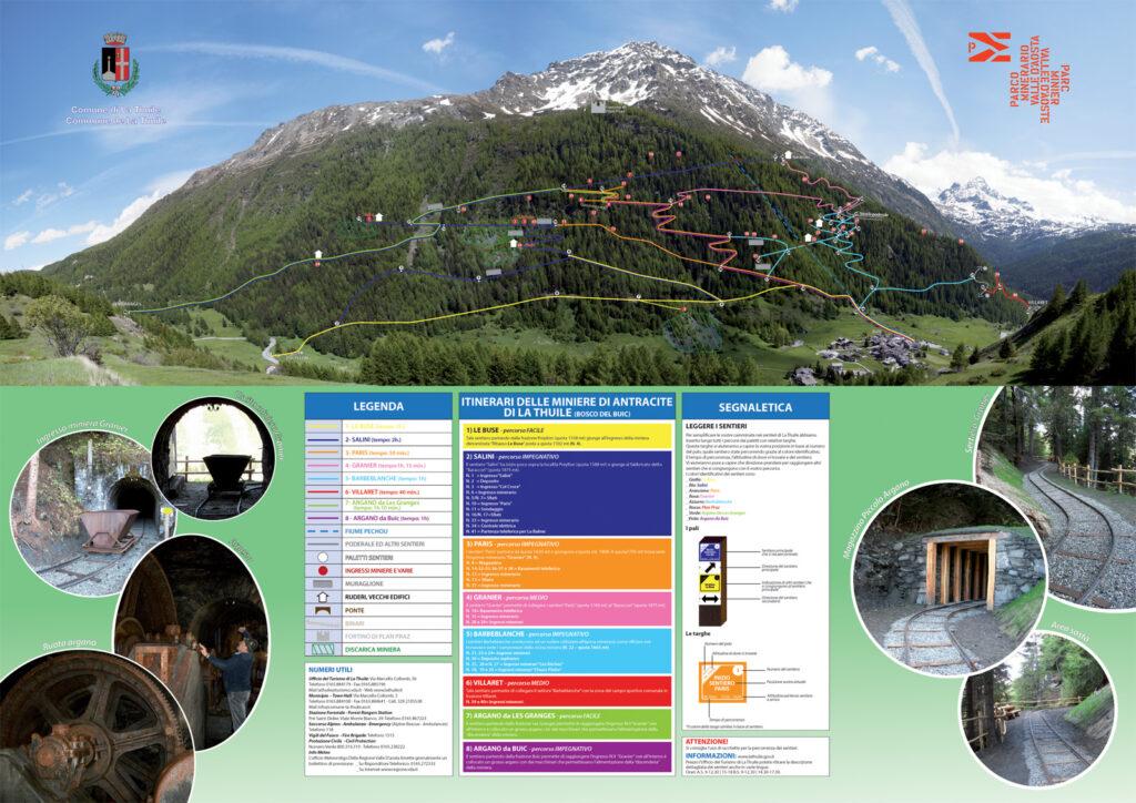 La fitta rete di sentieri tracciati dal Comune di La Thuile per la visita del parco minerario.