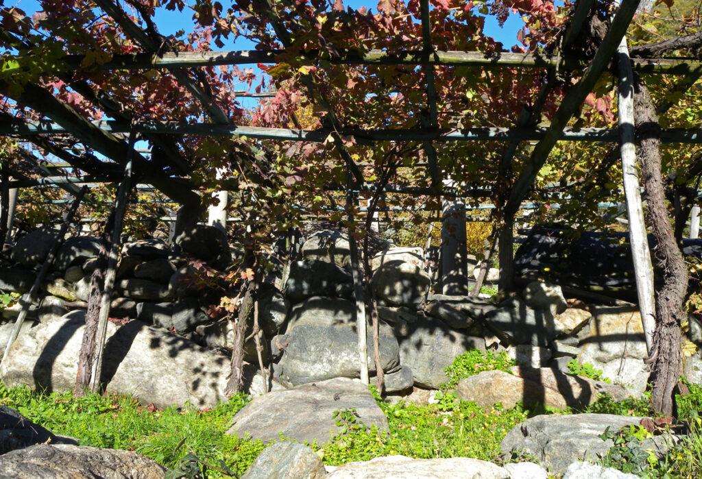 Una spessa base di blocchi scuri di pietra eclogitica assicura un buon riverbero di calore nelle lunghe stagioni fredde.