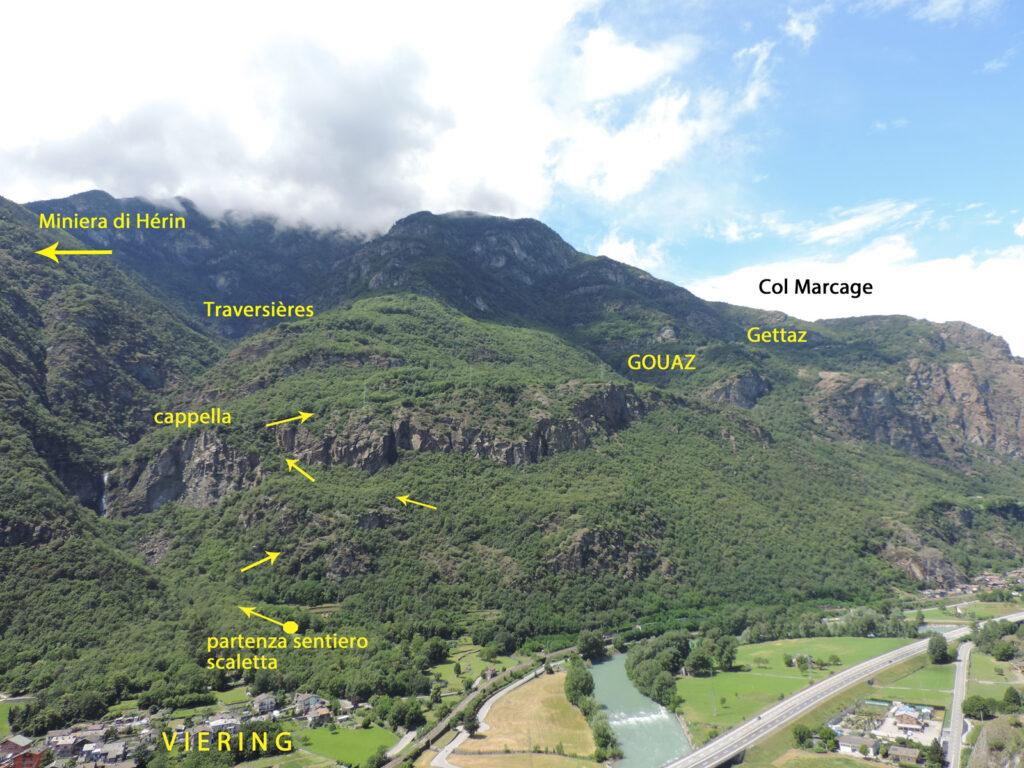 Qualche indicazione sul versante che si risale da Viéring per raggiungere la miniera di Hérin. Ora a Gouaz giunge la strada asfaltata dal capoluogo di Montjovet, sulla destra fuori campo della foto, e prosegue fino a Gettaz. La strada sterrata verso il Col Marcage e quella verso Traversières sono a traffico limitato.